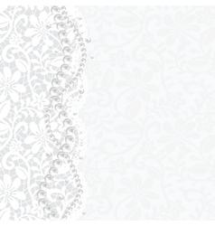 lace background and pearl necklace vector image
