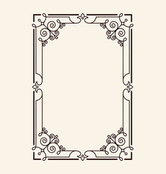 old vintage frame with cut angles and thin swirls vector image vector image