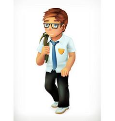 Schoolboy Little boy cartoon character icon vector image vector image