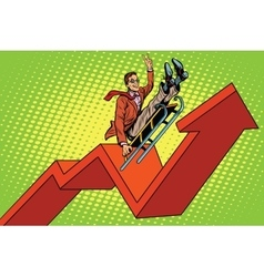 Businessman on a sled up arrow chart sales vector image vector image