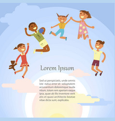 children are jumping vector image