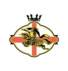 English Knight Riding Horse Lance Retro vector image vector image