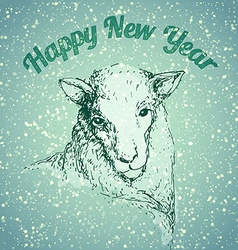 Sheep with snowflake vector image vector image