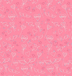 Sketch style Valentines Day seamless pattern vector image vector image