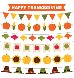 Thanksgiving and fall party garlands vector