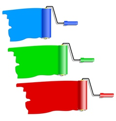 three roller for painting vector image vector image