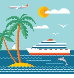 Travel cruise - flat style vector image vector image