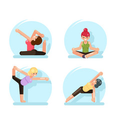 Yoga cute girls fitness poses flat design vector