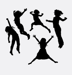 children happy action silhouette vector image vector image