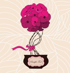 Flower bouquet in cute flowerpot vector image vector image