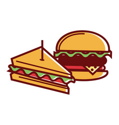 homemade sandwich and hamburger from fastfood vector image vector image