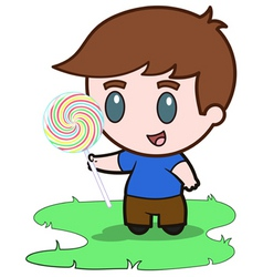 little boy and his candy vector image