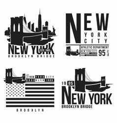 set of new york brooklyn bridge typography for vector image