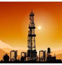 Silhouette drilling rigs vector