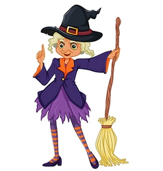 An old witch holding a broomstick vector image vector image