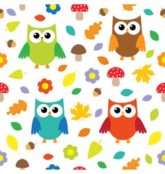 Autumn background with owls vector image vector image
