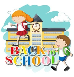 Back to school theme with kids at school vector image vector image