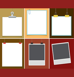 blank paper with paper clips on different vector image vector image