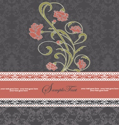 damask floral card vector image