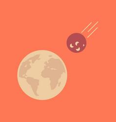 flat icon on stylish background meteorite earth vector image