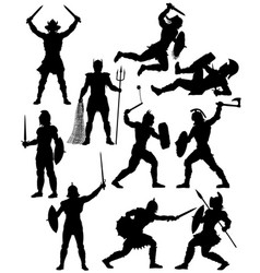 gladiator silhouettes vector image