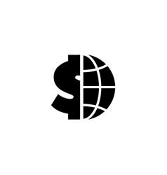 Globe with dollar flat icon vector