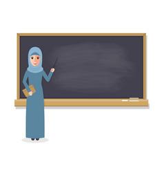 muslim teacher teaching student in classroom vector image