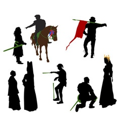 Silhouettes of medieval people vector