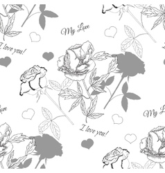 Valentines Day Seamless Pattern with Flowers vector image