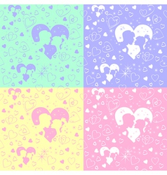 valentines day silhouettes vector image vector image