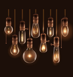 vintage glowing light bulbs icon set vector image