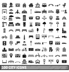 100 city icons set in simple style vector