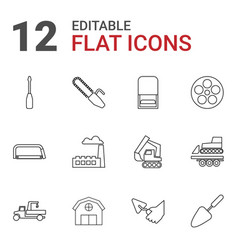 12 industry icons vector