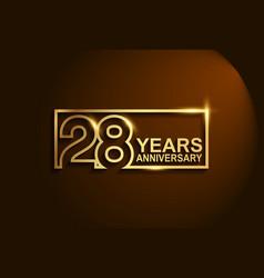 28 years anniversary golden design line style vector