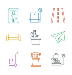 9 airport icons vector