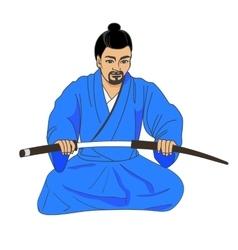 A japanese samurai ronin vector