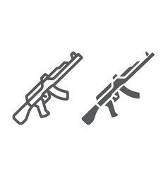 Ak47 line and glyph icon rifle and military vector