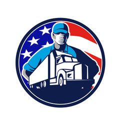 American truck driver wearing mask usa flag vector