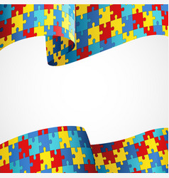 Autism awareness colorful puzzle flag vector