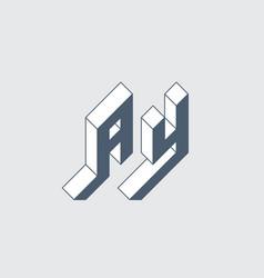Ay - monogram or logotype isometric 3d font vector