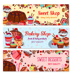 Bakery and sweet shop ice cream cafe banner set vector