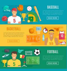 banners baseball football basketball sport vector image