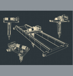 Beam crane blueprints vector