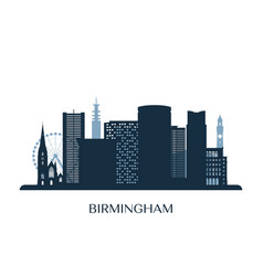 Birmingham skyline monochrome silhouette vector