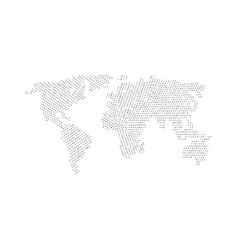 black color world map isolated on white background vector image