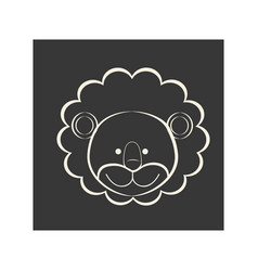 black square picture of lion animal vector image