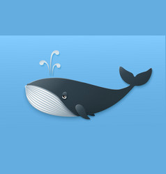 blue whale isolated on light blue backgroundl in vector image