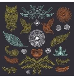 Boho handmade set of elements vector