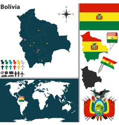 Bolivia map world vector
