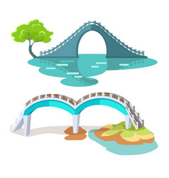 Bridges in taiwanese style isolated on white vector